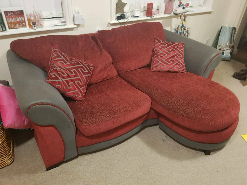 Dfs Two Seater Burgundy Sofa Cuddle Chair And Foot Stool