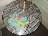 Stylish Ikea Klingsbo side table, shelf, glass top, slate print, round hall bedside lamp plant stand