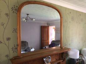 Antique Pine Fireplace Mirror
