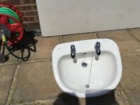 Semi inset basin with taps