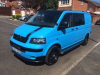 Volkswagen T5 Camper/Day Van in Sky Blue with Black trim and Black Alloys. New MOT. See photos