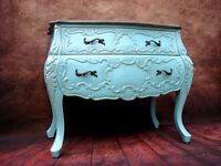 Stunning French Bombe Chest Of Drawers Sideboard Painted