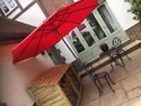 Red garden parasol