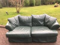 DFS Leather Green Sofas x2 with pouff
