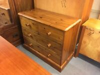LOVELY PINE CHEST OF THREE DRAWERS WITH PANNELLED BACK
