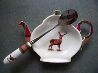 NEW & un-used Spode Glen Lodge Stag tea bag/spoon holder & Pheasant spoon. £8 ovno both/£5 ovno each