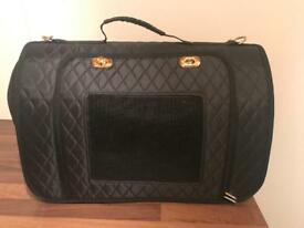 Black quilted cat or small dog carrier bag
