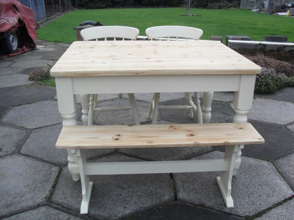 Fabulous Shabby Chic Farmhouse Country Solid Pine Table 2 Chairs And Bench In Farrow Ball Cream No 67 In Thorne South Yorkshire Gumtree Dailytribune Chair Design For Home Dailytribuneorg