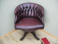 Stunning Vintage Oxblood Leather Chesterfield Captains Chair.
