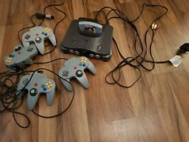 Nintendo N64 with 4 controllers and GoldenEye