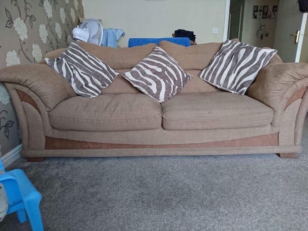 Two Brown fabric sofa and footstool **need gone by tomorrow**