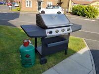 4 Burner Gas BBQ c/w Gas Bottle (Half Full)