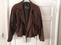 Worn ladies brown leather jacket size 14