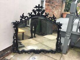 Beautiful old large mirror black