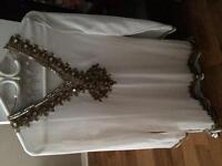 indian/middle eastern white beaded top