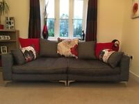 Modern Large 4 seater sofa + cuddle chair & footstool