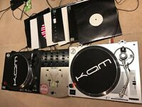 DJ Turntables, Numark PRO SM-1 Mixer, leads + records