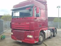 2007-07 daf xf 105-460 space cab 6x2 midlift tractor unit tested till october plus vat