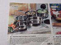 saucepan set ,stainless steel saucepan set 5 piece, sealed boxed unused ,good quality ,