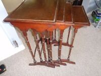 WALNUT/BURR NEST OF 4 OCCASIONAL TABLES MAIDSTONE £100
