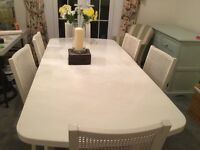 WHite Dining table and six chairs
