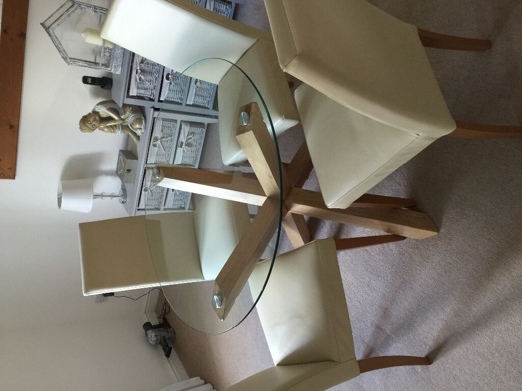 Round Glass Dining Table 95cm Diameter Oak Legs 4 Ivory Leather Chairs From