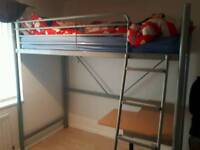 Metal High sleeper bunk bed frame with desk.