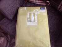 Faux silk pencil pleat curtains lined olive colour& tie bks 66in x90in bnip.