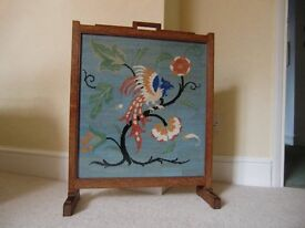 VINTAGE WOODEN FIRESCREEN WITH TAPESTRY PANEL