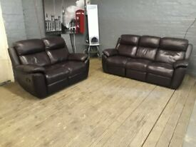 BROWN LEATHER SOFA SET RECLINERS 3+2 SEATER SOFT REAL COMFY ALL SIDES RECLINERS