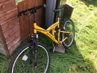 Mountain bike universal stinger yellow dual suspension