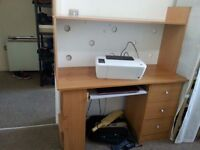 Computer Desk and Chair - Very Good condition - Spacious and lots of storage & Printer