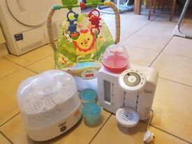 Tommee tippee perfect prep machine, steriliser and bouncer chair