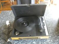 Vintage Record Player Fidelity HF42 1970's Small Portable Model