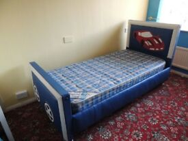 Bed Boys Car Single Bed Kids Childs Bed Blue + blue mattress