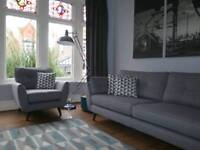 Grey DFS FRENCH CONNECTION Zinc 4 Seater Sofa & Armchair