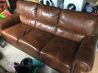 Leather 3 seat settee for sale
