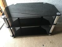 Black glass and chrome TV Stand Fits Upto 42inch Tv Good Condition
