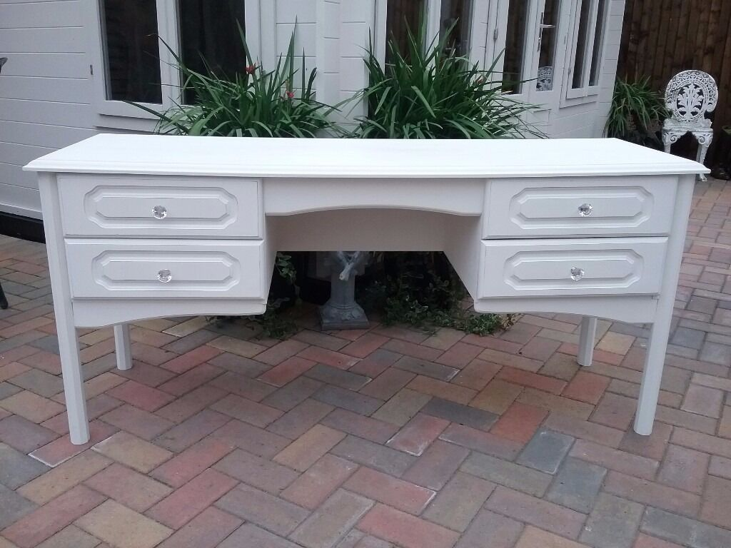 Recycled shabby chic long white dressing table in for Dressing table long