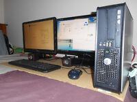 "Dell Optiplex 745 Windows 10 PC computer with Dual 22"" TFT screens"