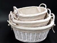 3x Oval Wicker Storage Baskets with handles