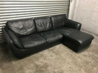 FREE DELIVERY REAL BLACK LEATHER CORNER SOFA