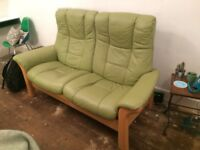 Ekornes stressless sofa in green calf leather FOR SALE