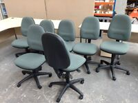 7 X GREEN TWEED FABRIC OFFICE SWIVEL OPERATOR'S CHAIRS, FOR THE PRICE OF 6