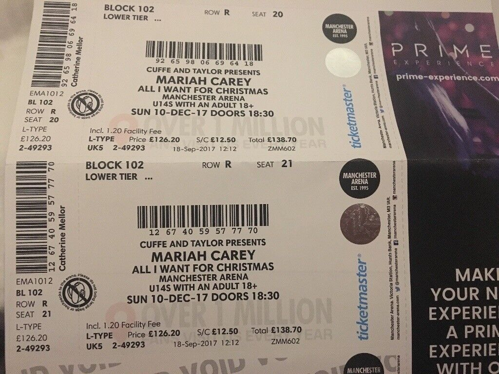 Mariah Carey tickets x 2 Manchester 10th Dec great seats at front