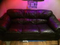 black faux leather 3 seater sofa- cheap for quick sale- COLLECTION ONLY M23