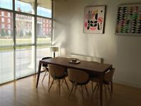 Solid Mango wood table & 6 Eames Chairs