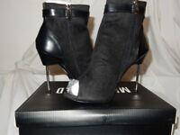 Womans Pin Heel toe lock and boot Black