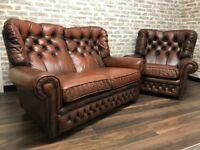 Vintage Tan Chesterfield Monks Sofa & Chair