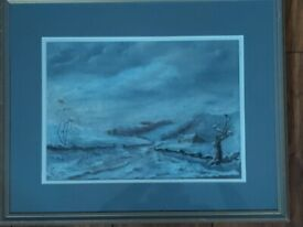 ORIGINAL PAINTING - WINTER SCENE - FRAMED AND SIGNED